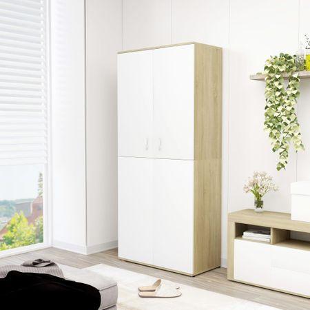 shumee fehér és sonoma-tölgy forgácslap cipősszekrény 80 x 39 x 178 cm