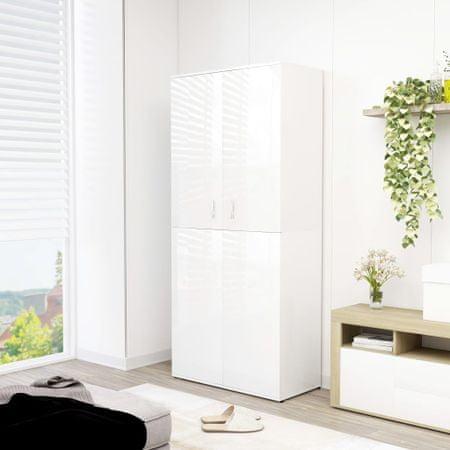 shumee magasfényű fehér forgácslap cipősszekrény 80 x 39 x 178 cm