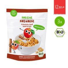Freche Freunde BIO Cereálie - křupavé piškvorky - Jablko a skořice (3x125g)