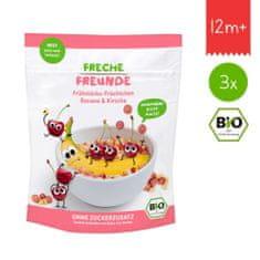 Freche Freunde BIO Cereálie - křupavé kousky - Banán a třešeň (3x 125 g)
