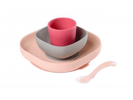 Beaba Szilikon étkezőkészlet 4 részes, Pink