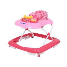 Baby Mix Detské chodítko Baby Mix s volantom a silikónovými kolieskami ružové Ružová