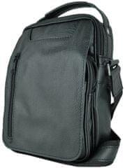 VegaLM Kožená crossbody taška z hrúbkovanej kože v čiernej farbe
