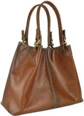VegaLM Kožená kabelka SHOPPER, ručne farbená a tieňovaná, svetlo hnedá farba