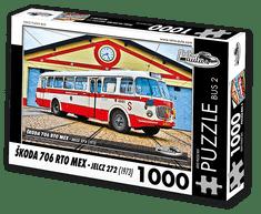 RETRO-AUTA© Puzzle BUS 2 - ŠKODA 706 RTO MEX - Jelcz 272 (1973) 1000 dílků