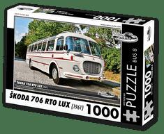 RETRO-AUTA© Puzzle BUS 8 - ŠKODA 706 RTO LUX (1961) 1000 dílků