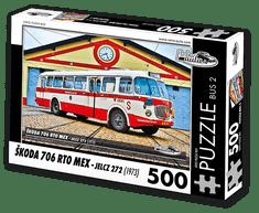 RETRO-AUTA© Puzzle BUS 2 - ŠKODA 706 RTO MEX - Jelcz 272 (1973) 500 dílků