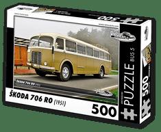 RETRO-AUTA© Puzzle BUS 5 - ŠKODA 706 RO (1951) 500 dílků