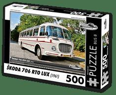 RETRO-AUTA© Puzzle BUS 8 - ŠKODA 706 RTO LUX (1961) 500 dílků