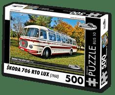 RETRO-AUTA© Puzzle BUS 10 - ŠKODA 706 RTO LUX (1960) 500 dílků