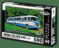 RETRO-AUTA© Puzzle BUS 14 - ŠKODA 706 RTO KAR s vlečným vozem Jelcz P-01E (1968) 500 dílků
