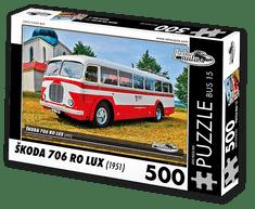 RETRO-AUTA© Puzzle BUS 15 - ŠKODA 706 RO LUX (1951) 500 dílků