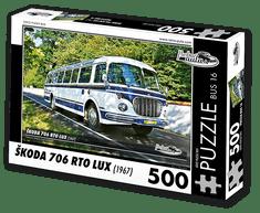 RETRO-AUTA© Puzzle BUS 16 - ŠKODA 706 RTO LUX (1967) 500 dílků