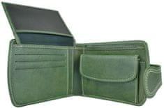 VegaLM Elegantná UNISEX kožená peňaženka v zelenej farbe, ručne tamponovaná
