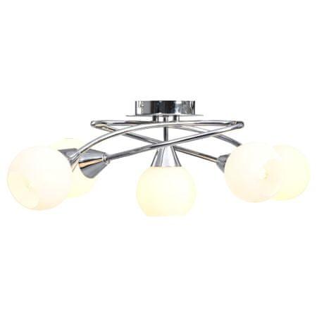 shumee Stropna svetilka s keramičnimi senčniki za 5 E14 žarnic bela