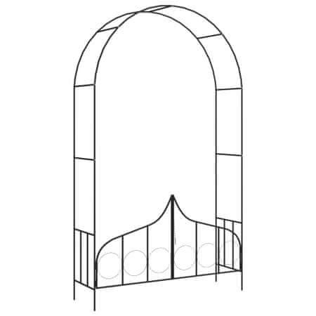 shumee Vrtni obok z vrati črne barve 138x40x238 cm železo