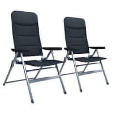 shumee Sklápacie záhradné stoličky 2 ks, hliník, čierne