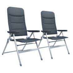 shumee Sklápacie záhradné stoličky 2 ks, hliník, sivé