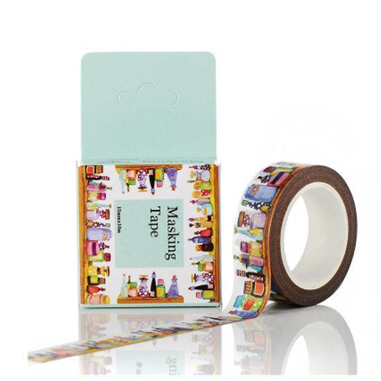 Kraftika Lepicí dekorační washi páska, motiv - flakony, parfémy