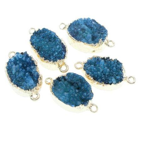 Kraftika 1szt niebieski kryształ złota owalny agat ice age