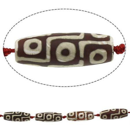 Kraftika 1 brązowy biały 9 oko rurka agat tybetański ji koraliki