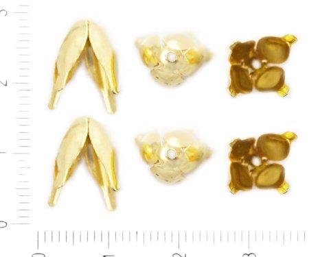 Kraftika 40db arany színű aranyozott virág koszorú tassel gyöngy