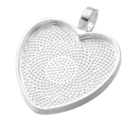 Kraftika 3db ezüst valentin nap szív fém keret 25mm cabochon tálca