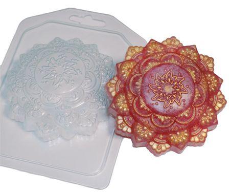 Kraftika 1db indiai mandala jóga szellem dísz virág műanyag szappan