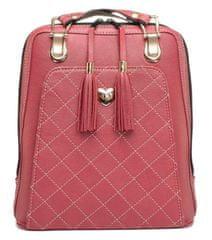 VegaLM Kožený ruksak z pravej hovädzej kože s možnosťou nosenia ako kabelky v bordovej farbe