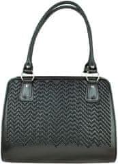 VegaLM Ručne vyšívaná pracovná kabelka z pravej kože v čiernej farbe