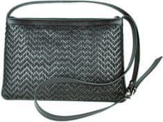 VegaLM Kožená kabelka ručne vyšívaná v čiernej farbe