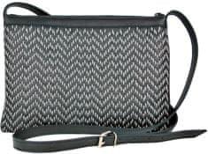 VegaLM Kožená kabelka ručne vyšívaná v čiernej farbe so šedým vyšívaním