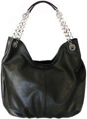 VegaLM Dámska moderná kožená kabelka v čiernej farbe
