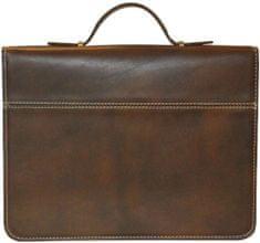 VegaLM Luxusná kožená pracovná taška/spisovka v hnedej farbe