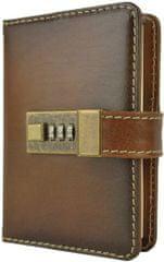 VegaLM Kožený zápisník MINI z prírodnej kože s číselným zámkom v tmavo hnedej farbe