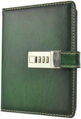 VegaLM Kožený zápisník MIDDLE z prírodnej kože s číselným zámkom v zelenej farbe