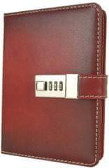 VegaLM Kožený zápisník MIDDLE z prírodnej kože s číselným zámkom v červenej farbe
