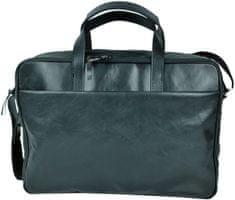 VegaLM Kožená taška na notebook v tmavo čiernej farbe