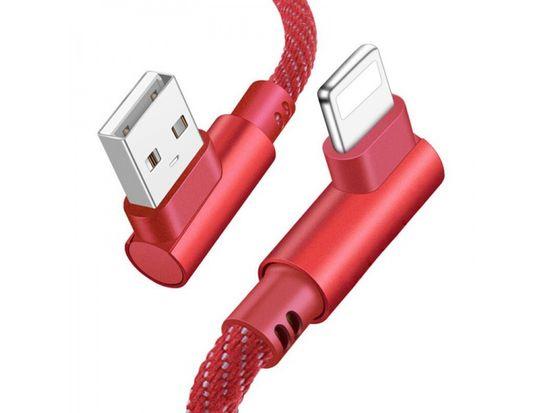 Tel1 USB Kabel - 90° kovové koncovky T68 na micro USB, 1 metr červená 5478965244