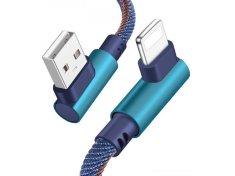 Tel1 USB Kabel - 90° kovové koncovky T68 na micro USB, 1 metr modrá 5478965230