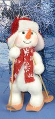 DUE ESSE Vánoční dekorace sněhulák na lyžích v ušance 2 - 38 cm