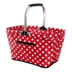 Toro Nákupní košík Bílý puntík 48x28x28 cm červená