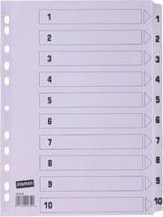 Staples register, A4, kartonski, 1-10, bel