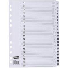 Staples register, A4, kartonski, 1-20, bel