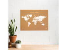Alum online Korková nástenná mapa sveta- prírodná, biela XL
