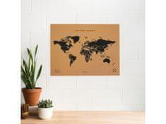 Alum online Korková nástenná mapa sveta- prírodné, čierna XL