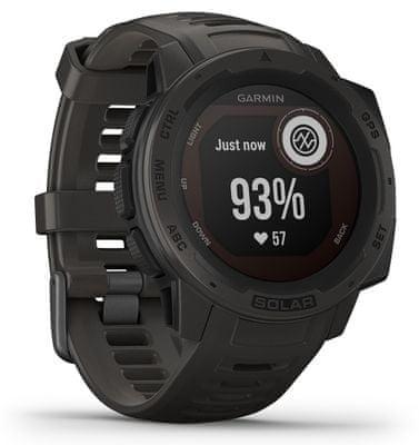 Inteligentné hodinky Garmin Instinct Solar, solárne nabíjanie vojenský štandard odolnosti, outdoorové, MIL-STD-810G, dlhá výdrž batérie, vodotesné, tvrdené sklo