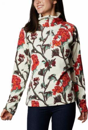 Columbia Glacial IV Print 1/2 Zip ženski pulover od flisa, bijelo-narančasti, XS