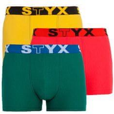 Styx 3PACK pánské boxerky sportovní guma vícebarevné (G10646566)