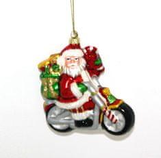 DUE ESSE božični okrasek Božiček na motorju, 15 cm